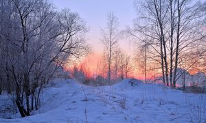 Зимний морозный вечер.